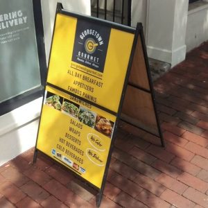 custom restaurant a-frame sign